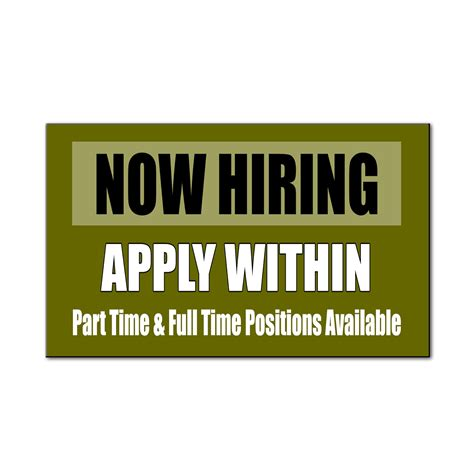 now hiring apply within part time time car door