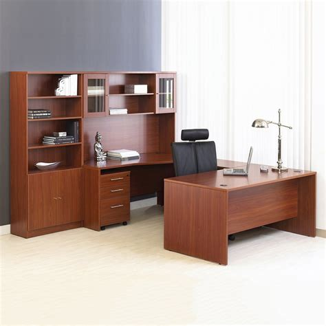 Home Office Suite Furniture Set Unique Furniture 100combo13 100 Series Executive U Shape Desk And Hutch With Bookcase Atg Stores