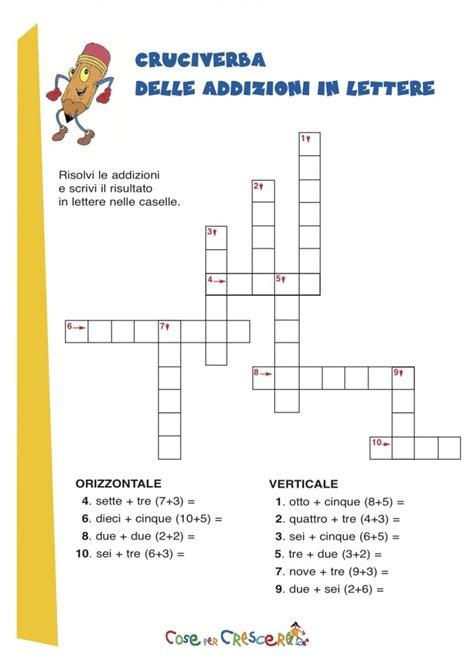 parole di nove lettere cruciverba per bambini