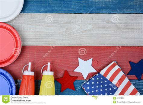 The Ideal Picnic Get It On The High Now by Patriotic Picnic Table Stock Photo Image 49771322