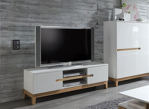 Living Room Free Standing Units Sandrine Contemporary High Gloss White And Oak Tv Unit