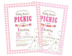 Teddy Picnic Invitation Template by Printable Custom Birthday Invitation Template