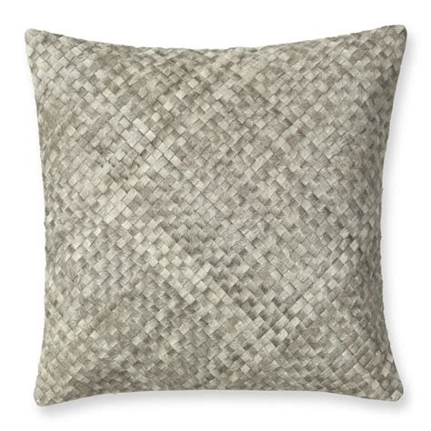 Hide Pillows by Woven Leather Hide Pillow Cover Gray Williams Sonoma