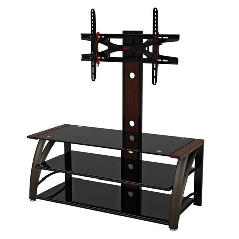 z line tv stands z line designs 3 in 1 black glass 60 quot tv stand with