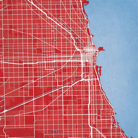 chicago map drawing chicago illinios map city prints