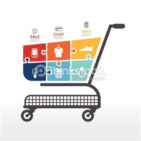 shopping cart template infographic template with shopping cart jigsaw banner