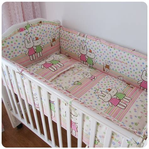 Crib Bedding Sets With Bumpers Promotion 6pcs Baby Crib Cot Bedding Set Crib Bumper Bumpers Sheet Pillow Cover In Bedding