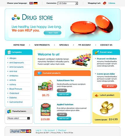 Template 16512 Pharmaceutical Store Cre Loaded Template Biotech Website Templates
