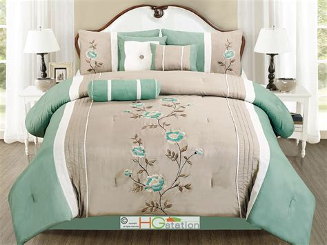 11 pc embroidery floral comforter curtain set sea green