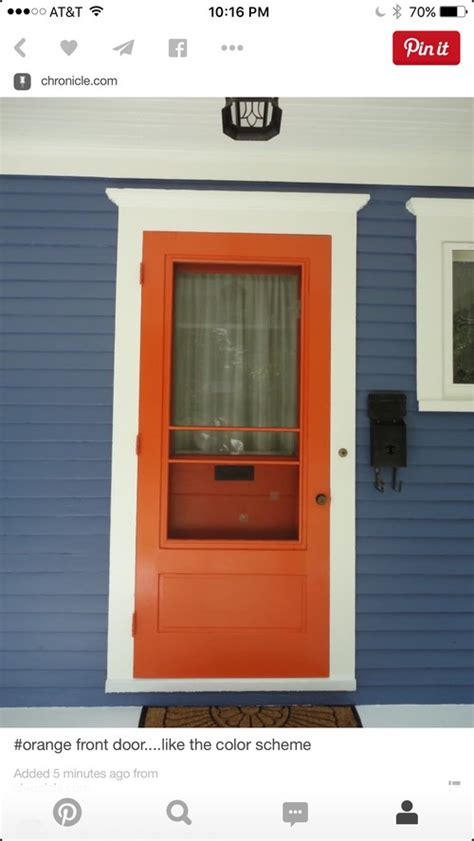 blue house orange door orange door and blue house with white trim hardware style