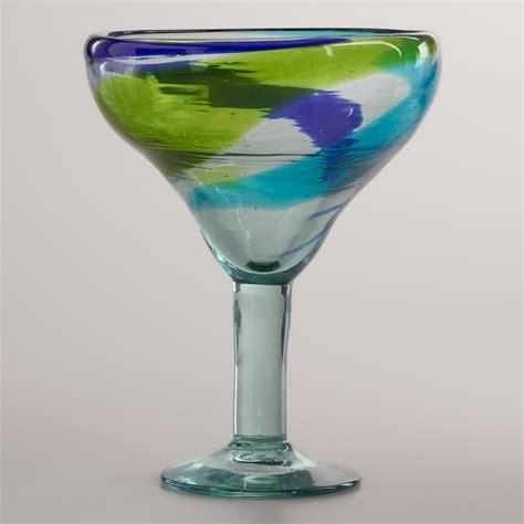 Margarita Glasses Cool Toned Swirl Margarita Glasses Set Of 2 World Market