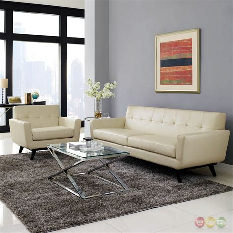 Tufted Living Room Set Engage Contemporary 2pc Button Tufted Leather Living Room Set Beige