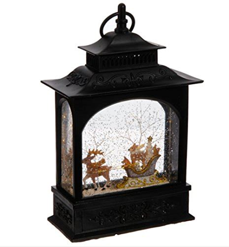 glittering christmas battery operated snow globes lighted reindeer and animals in sleigh water snow glitter globe lantern decor 11 inch