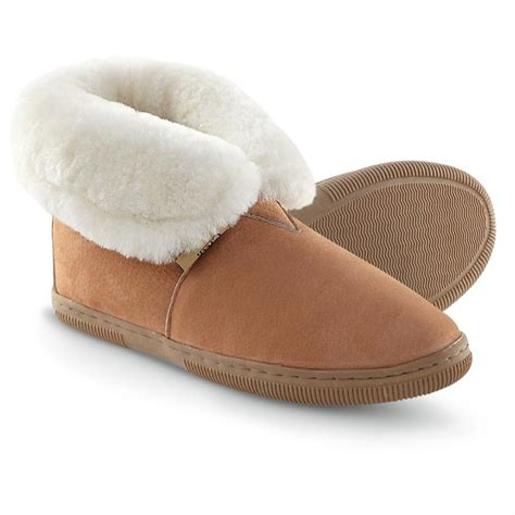 s slippers s snowy creek 174 shearling roll top slippers chestnut