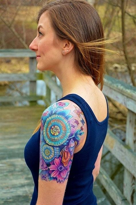 quarter sleeve tattoo feminine colorful lotus flower design for quarter sleeve tattoo