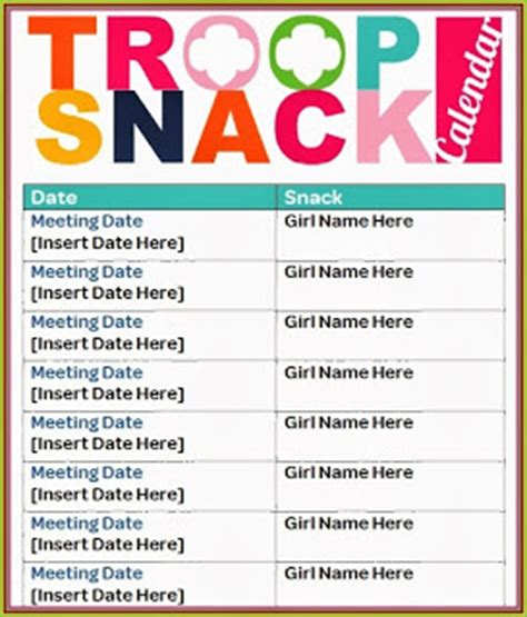 i am scouts snack calendar a must have