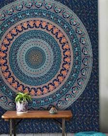 Indian Cotton Duvet Cover Large Blue Birds Bohemian Mandala Wall Tapestry Wall