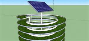 The system is a vertical spiral aquaponics growing system powered by a