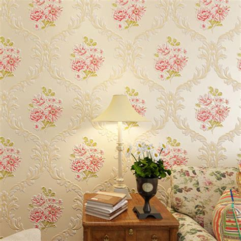 flower wallpaper home decor 3d pastoral floral wallpaper embossed fabric wall mural