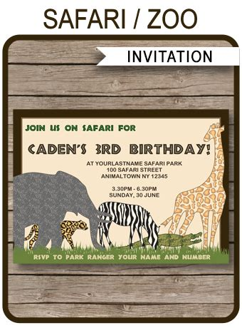 safari  zoo party invitations template birthday party
