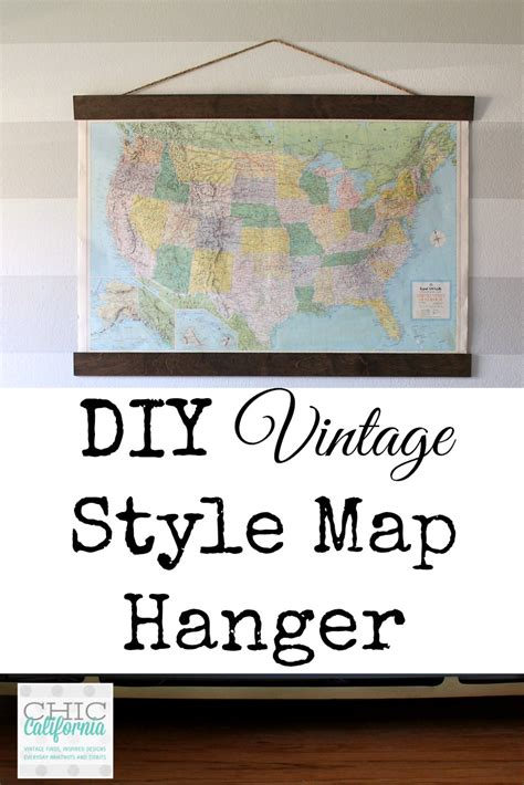 how to hang a map without a frame diy vintage map hanger chic california