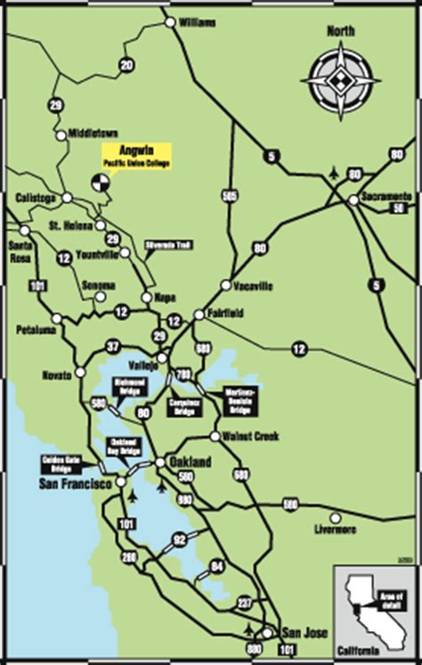 san francisco map napa valley pacific union college getting to puc