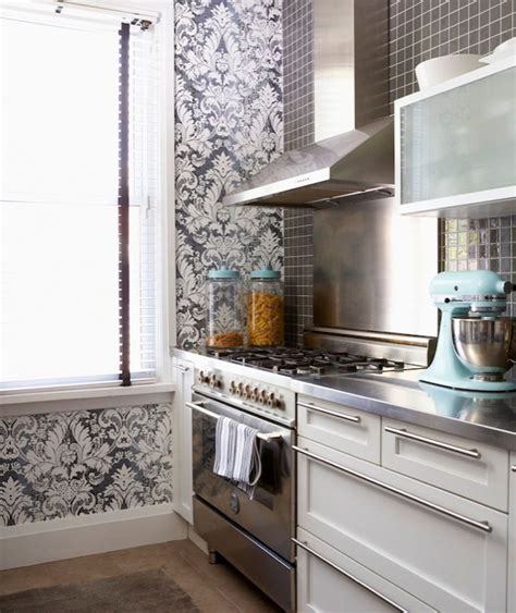 wallpaper on kitchen cabinets damask design ideas
