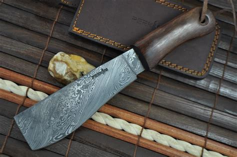custom made handmade damascus knife machete work