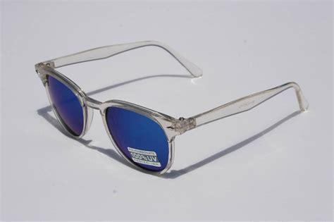 blue light glasses clear crystal wayfarer sunglasses clear frame blue mirror lens