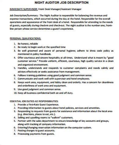 Auditor Duties by Auditor Description Sle 8 Exles In Word Pdf