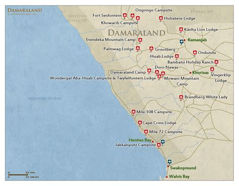 a map of damaraland map detailed map of damaraland