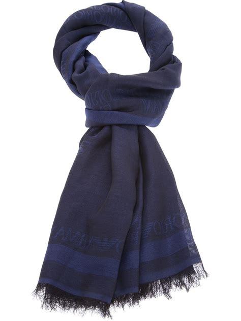 emporio armani logo scarf in blue lyst