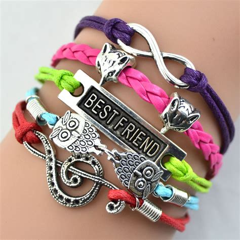 gelang vintage best friend forever charm leather bracelet bangle w5 multi color
