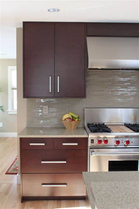 modern kitchen tile backsplash backsplash ideas kitchen contemporary with light countertop dark cabinets