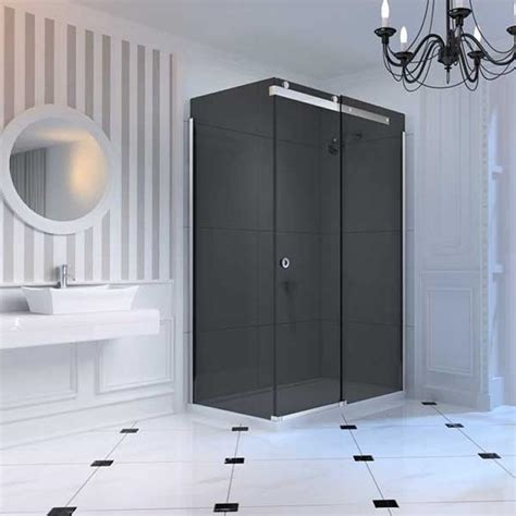 Smoked Glass Shower Doors Merlyn 10 Series Sliding Shower Door Smoked Glass Sanctuary Bathrooms