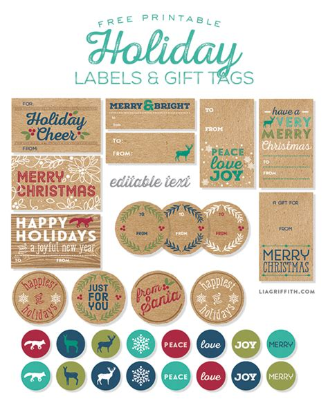 printable kraft paper labels free printable rustic kraft holiday gift tags and labels