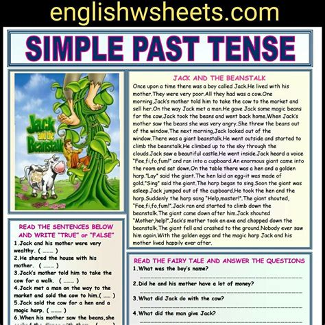 and the beanstalk esl reading comprehension worksheet