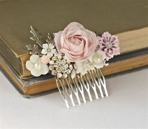 Shabby Chic Wedding Accessories Shabby Chic Rose Hair Piece Silver Vintage Bridal Hair