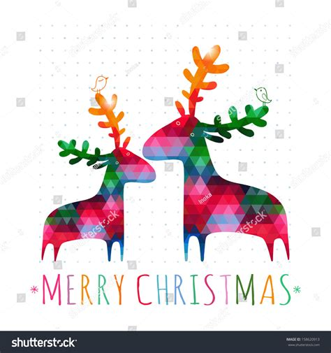 christmas cards shutterstock card colorful deers stock vector 158620913