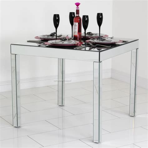 venetian mirrored glass square dining table 4 seater