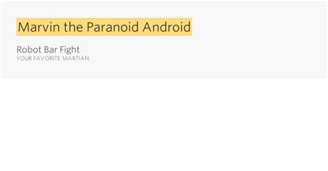 paranoid android meaning marvin the paranoid android robot bar fight