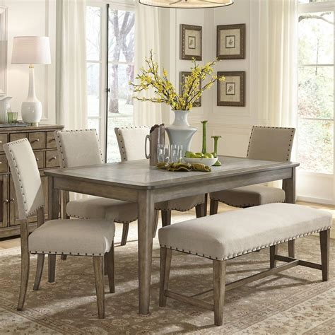 dining room sets with bench rustic casual 6 piece dining table and chairs set with