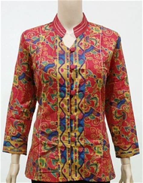 Kemeja Wanita Kantoran Lengan Panjang blus batik kantoran lengan panjang blus elia tenun merah