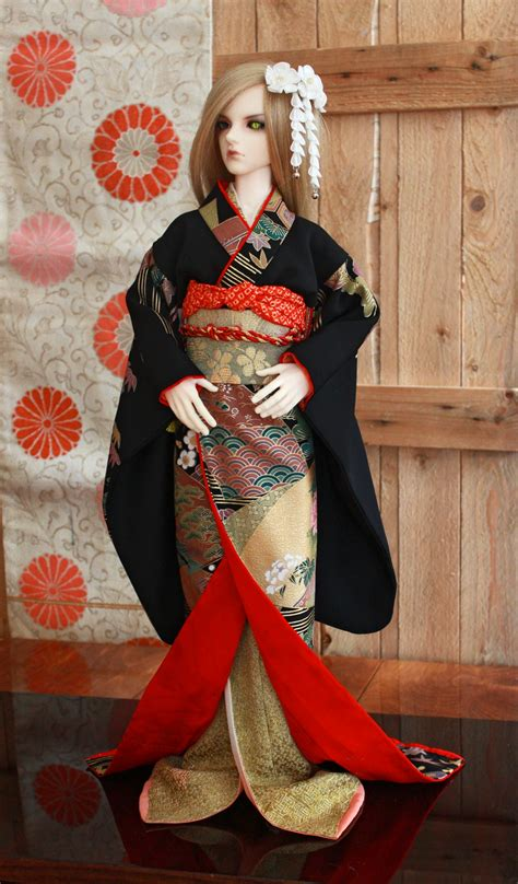 jointed doll set bjd kimono complete set of black and golden by