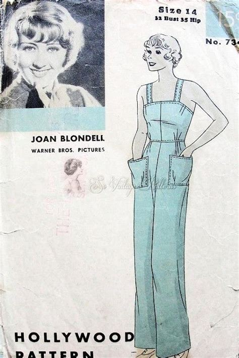 Rara Overall 1930s overalls pattern 734 vintage sewing