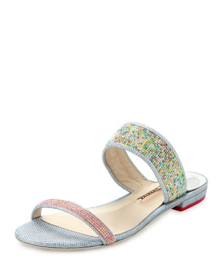 Jr Flat Swarovski Shoes 698 2 webster adaline dreamy flat slide sandal pink blue neiman