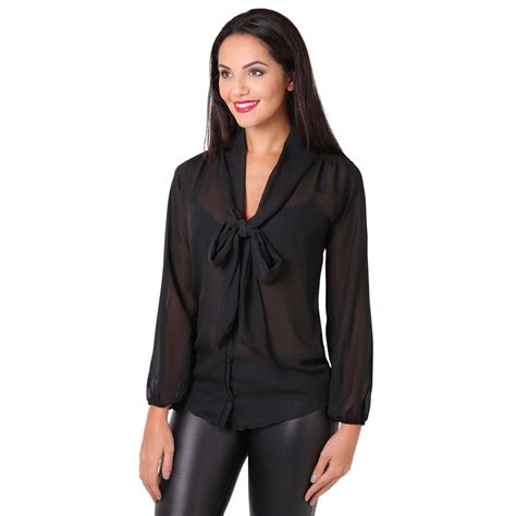 Black And White Chiffon Blouse by Krisp Womens See Through Chiffon Blouse Tie