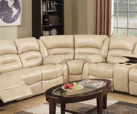 cream sectional 9173 9243 reclining sectional sofa in cream bonded leather