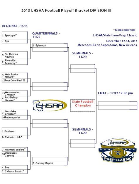2013 Lhsaa Football Playoff Brackets Hanna Newspapers