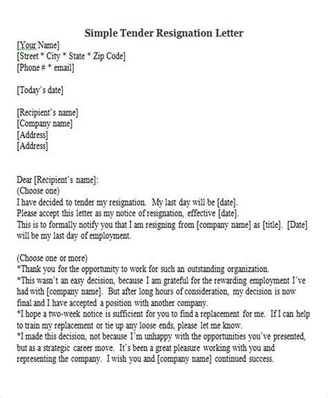 Tender Resignation Letter By Email 65 Sle Resignation Letters